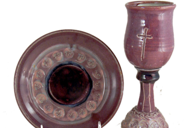 Purple Chalice and Paten Set with Incised Cross
